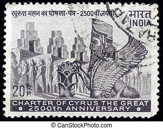 Charter Of Cyrus The Great stamp - India-Circa 1969, Anny...