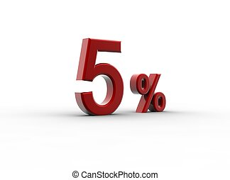 Red 5 percentage - A red percentage isolated on a white...