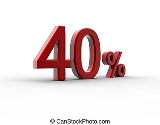 Red 40 percentage - A red percentage isolated on a white...