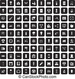 100 electricity icons set black