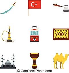 Turkey equipment icons set, flat style
