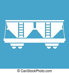 Freight railroad car icon white isolated on blue background...