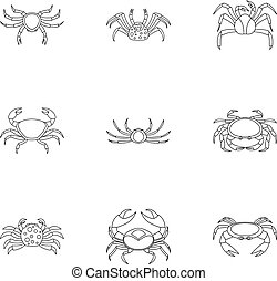 Different crab icons set, outline style - Different crab...