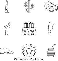Buenos Aires travel icons set, outline style - Buenos Aires...