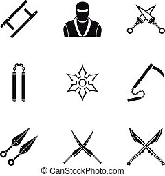 Japanese weapons icons set, simple style - Japanese weapons...