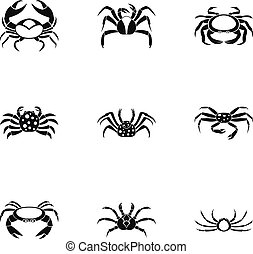 Different crab icons set, simple style - Different crab...