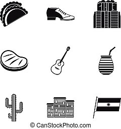 Buenos Aires travel icons set, simple style - Buenos Aires...