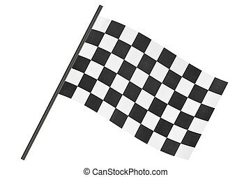 Checkered finish flag isolated on white background