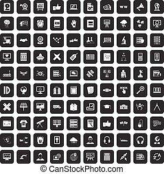 100 education technology icons set black - 100 education...