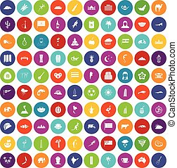 100 exotic animals icons set color