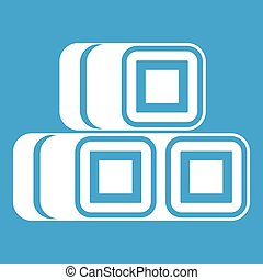 Hay bundles icon white isolated on blue background vector...