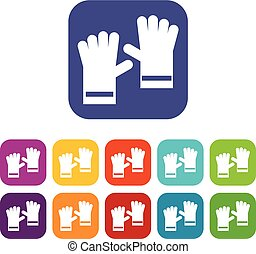 Rubber gloves icons set vector illustration in flat style in...