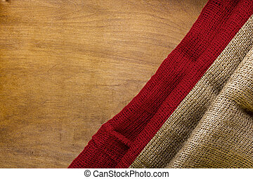 White red flag of Indonesia on a wooden background.