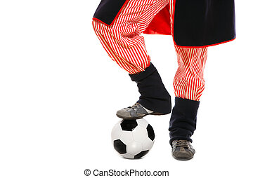 Polish man in a traditional outfit with football