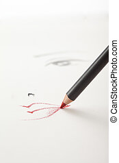 a make-up sketch, with a red lip pencil drawing the mouth -...