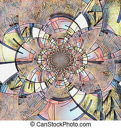 Mondrian - Abstract painting. Mirrored round fractal in...