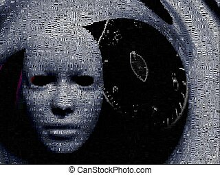 Time warp - Surrealism. White mask and time spiral. Words.