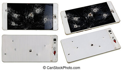 Phone with holes from nails and bullets - No name phone with...
