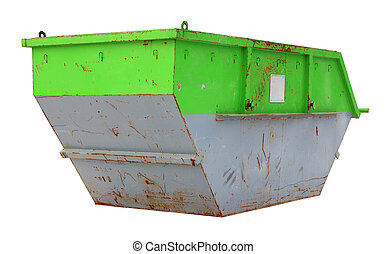 Steel used green rusted container for construction waste.