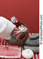 Red spa 58 - Sopa background with hygiene items in red