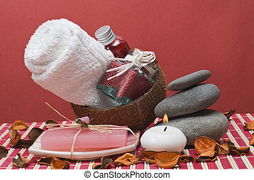 Red spa 57 - Sopa background with hygiene items in red