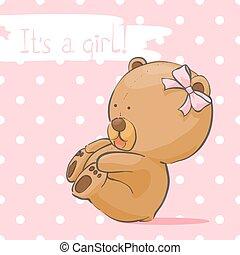 Postcard with a bear cub for a girl