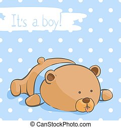 Postcard with a funny bear for a boy