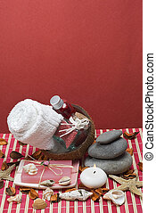 Red spa 54 - Sopa background with hygiene items in red