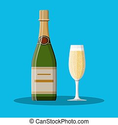 Bottle of champagne and glass.