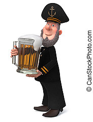 3d illustration sea captain with beer