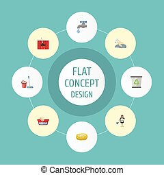 Flat Icons Housewife, Carpet Vacuuming, Towel And Other Vector Elements. Set Of Hygiene Flat Icons Symbols Also Includes Bast, Mopping, Housemaid Objects.