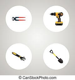 Realistic Spade, Electric Screwdriver, Tongs And Other...