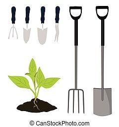 Garden tools vector icon set. Garden shovel, garden fork,...