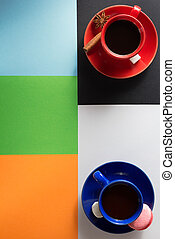 cup of coffee and cacao at abstract colorful - cup of coffee...