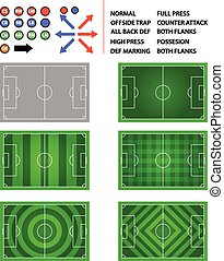 Soccer Field Strategy Plan Element Graphi - Vector set of...