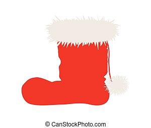 santa, blanco,  Claus, aislado, botas
