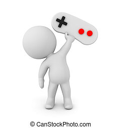 3D Character holding up video game controller gamepad