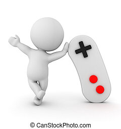 3D Character waving and leaning on video game controller