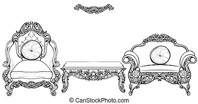 Baroque armchair and table set with luxurious ornaments....