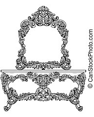 Exquisite Baroque dressing table engraved. Vector French...