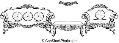 Baroque lounge furniture set with luxurious ornaments....