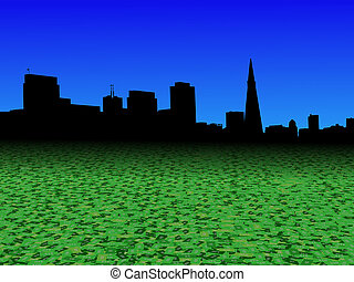 San Francisco skyline with abstract dollar currency foreground illustration