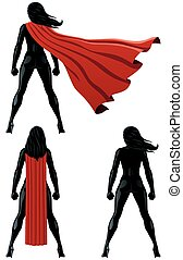 Super Heroine Back - Back of super heroine over white...