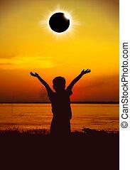 Scientific natural phenomenon. Total solar eclipse with...