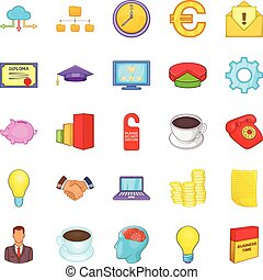 Accounting icons set, cartoon style