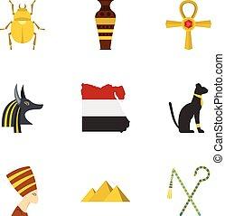 Egyptian pyramids icons set, cartoon style - Egyptian...
