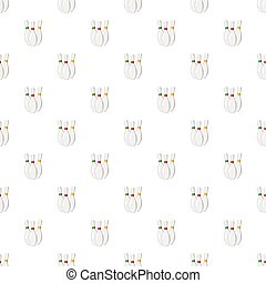 Three bowling pins pattern seamless repeat in cartoon style...