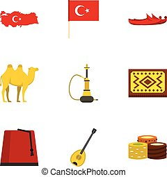 Turkey things icons set, flat style - Turkey things icons...