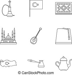 Turkey things icons set, outline style - Turkey things icons...