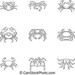 Underwater crab icons set, outline style - Underwater crab...